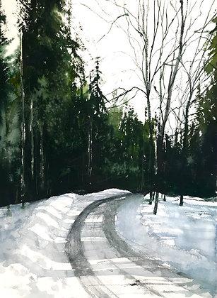 Watercolor ( Original ) 70x100 cm Vinterväg mot Åre 2017 inkl ram