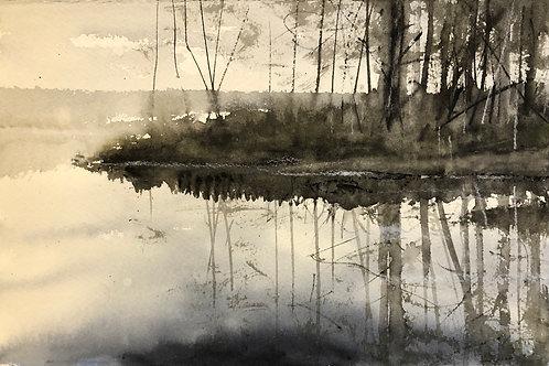 Watercolor ( Original) Vallsjön 20x15cm oramad 2021