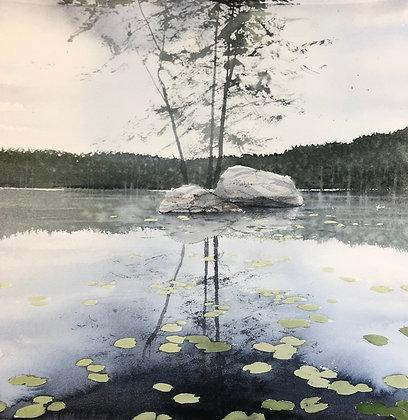 Watercolor ( Original ) 40x45 cm Näckrossjö ÅngermanlandOramad 2021
