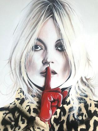 Acrylic Painting ( Kate Moss ) 89x110cm inkl ram 2019