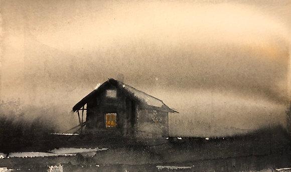 Watercolor ( Original ) 30x18cm Hus i Hälsingland  oramad 2021