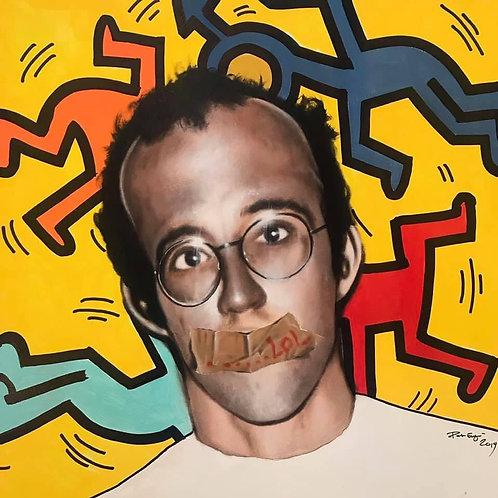 Keith Haring Acrylic on Canvas Original 70x70cm 2019