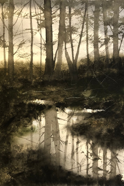 Watercolor ( Original) Vallsjön noren 15x20cm oramad 2021