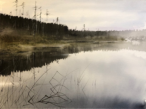 Watercolor ( Original) Vallsjön 30x40cm oramad 2021