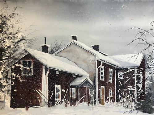 Watercolor ( Original ) 60x40 cm Stuga i Dalarna Oramad 2020