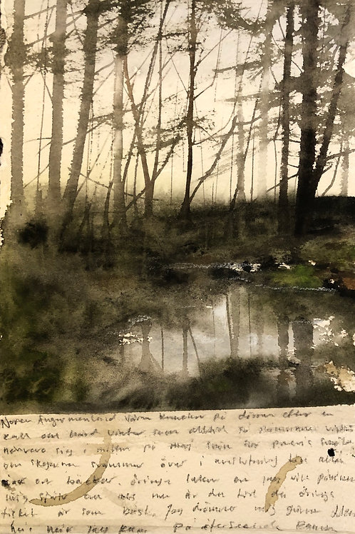 Watercolor ( Original) Dammen / Ramsele 15x22cm  oramad 2021