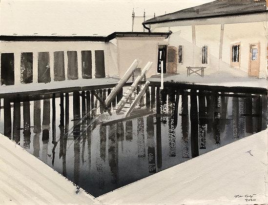 Watercolor ( Original ) 30x40 cm kallbadhuset Varberg 2020