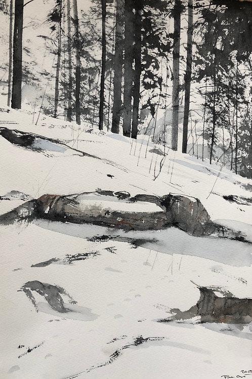 Watercolor ( Original) vinter i jämtland 18x28cm  oramad 2020