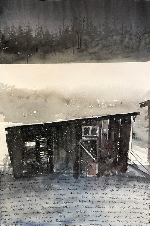Watercolor ( Original)  trasig lada i Ramsele 37x56cm  oramad 2021