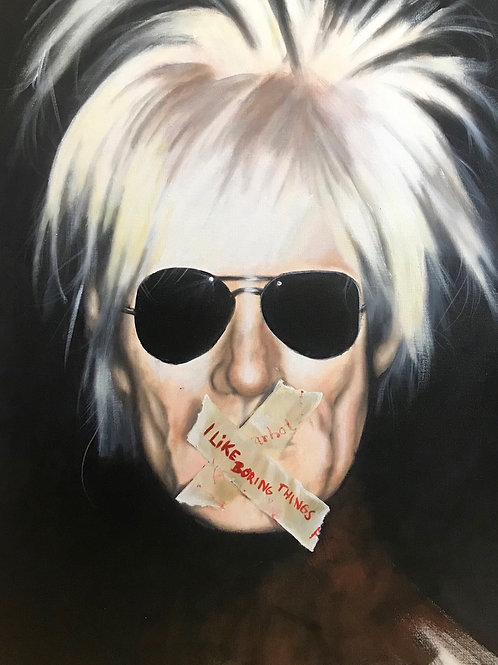 Acrylic Painting ( I like boring things ) 70x95cm  inkl ram  2019