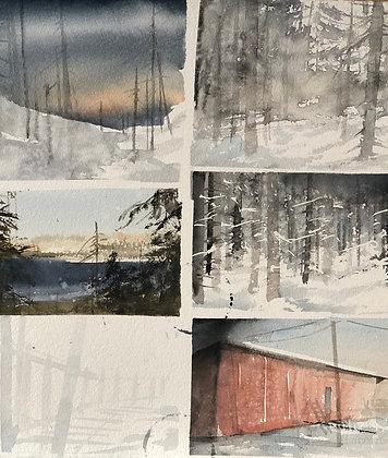Watercolor ( Original ) 55x65 cm Bilder från Ångermanland  2019
