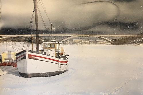 Watercolor ( Original ) 152x105cm Båt i Stockholm  oramad 2021