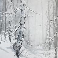 Björkskog i snöfall