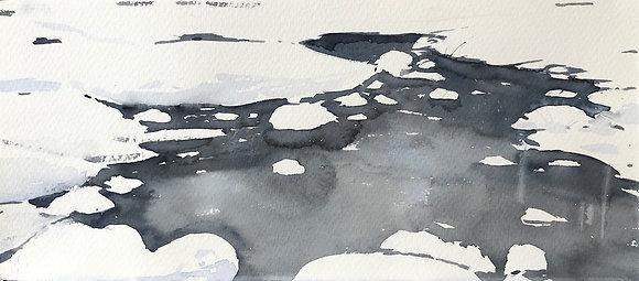 Watercolor ( Original ) 30x55 cm inkl ram Vinter på ingarö 2019