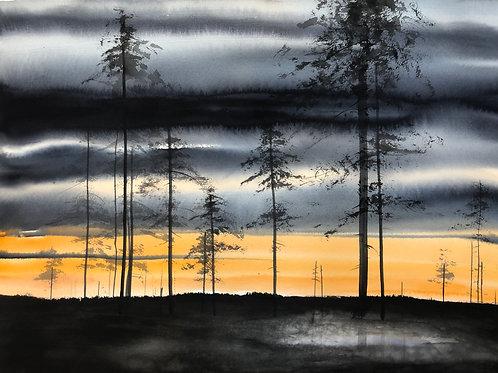 Watercolor ( Original ) 76x56 cm Solnedgång Lappland Oramad 2020
