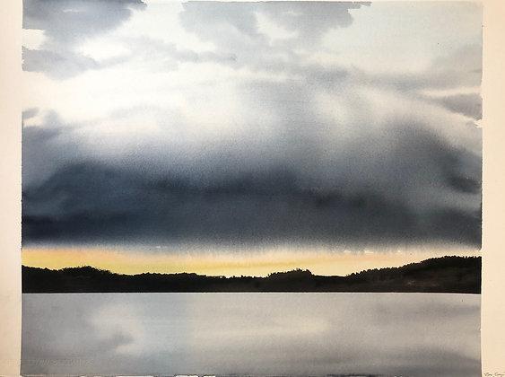 Watercolor ( Original ) 76x56 cm åska vallsjön 2020