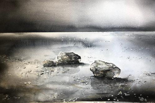 Watercolor ( Original ) 105x70 cm Stenar på Värmdö Oramad2020