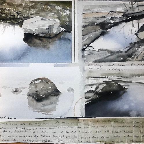 Watercolor ( Original ) 40x40cm Stenar på Ingarö  oramad 2021