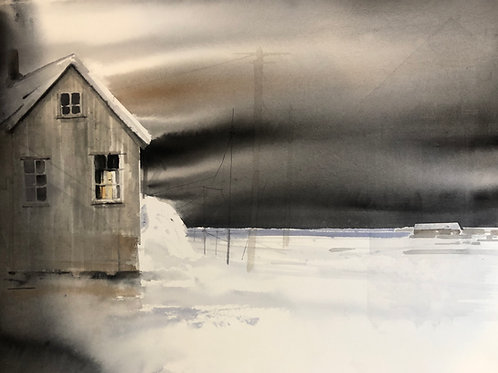 Watercolor ( Original ) 76x56 cm Sjöbod i Hälsingland Oramad 2020