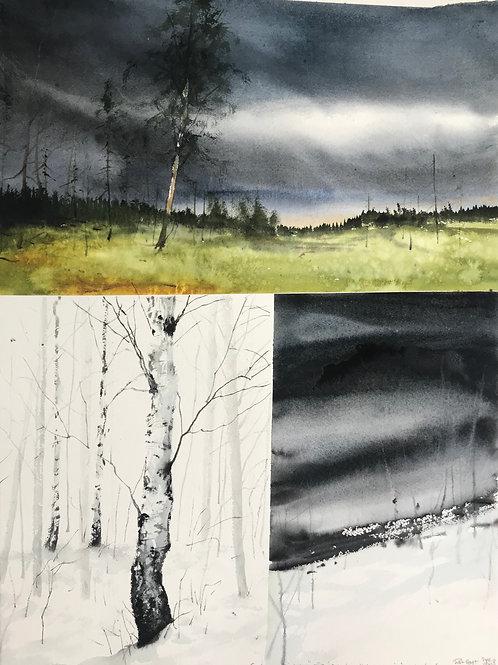 Watercolor ( Original ) 70x100 cm Collage Medelpad 2018 inkl ram