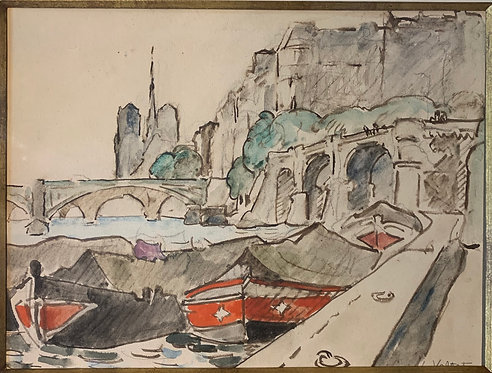 Louis Valtat: Paris - Seine Watercolor