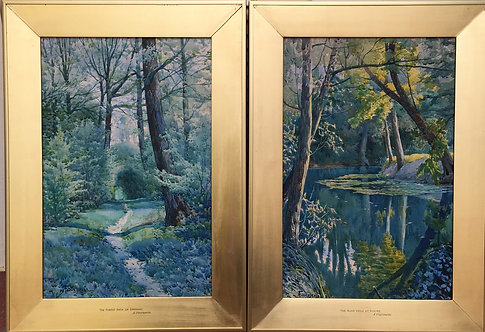 Pair of French Watercolors: Forest Path of Epernay, River Vesle at Rheims