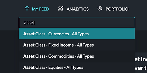 Search for asset classes