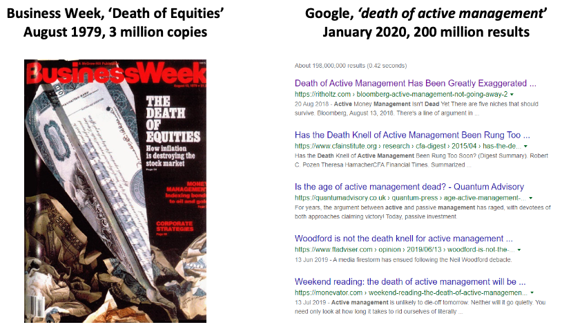 Clippings of the death of active investing & the death of active management
