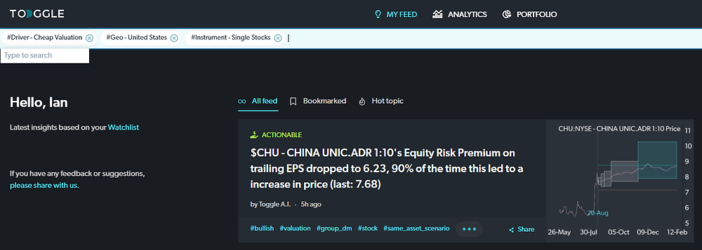 TOGGLE Insight feed with filters active showing how to find stocks with cheap valuations