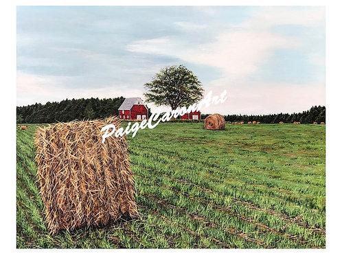 """""""Harvesting Haybales"""", PEI  Digital Reproduction Print"""