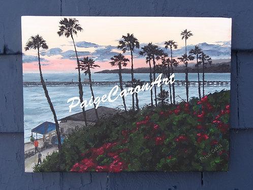 """San Clemente Pier"", CA - Original Acrylic Painting"