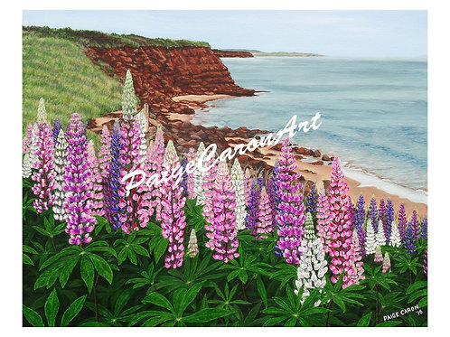 """""""Cavendish Cliffs and Spring Lupins"""", Digital Reproduction Print"""