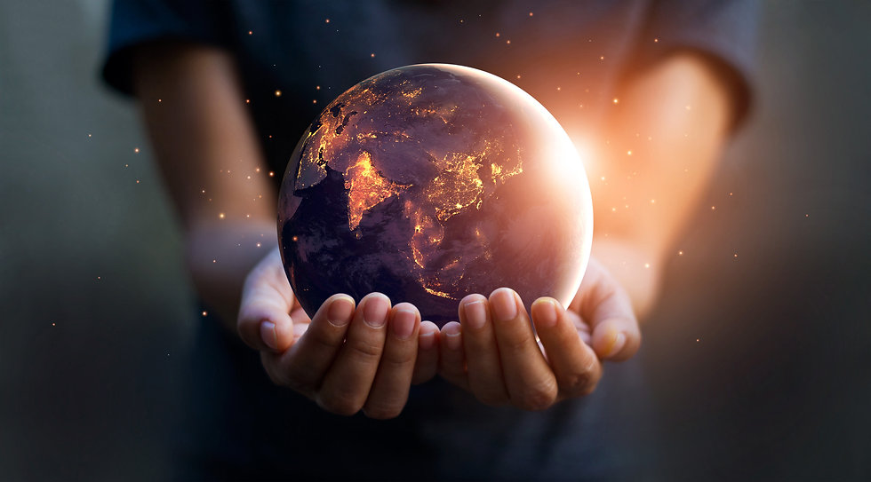 Earth at night was holding in human hands. Earth day. Energy saving concept, Elements of t