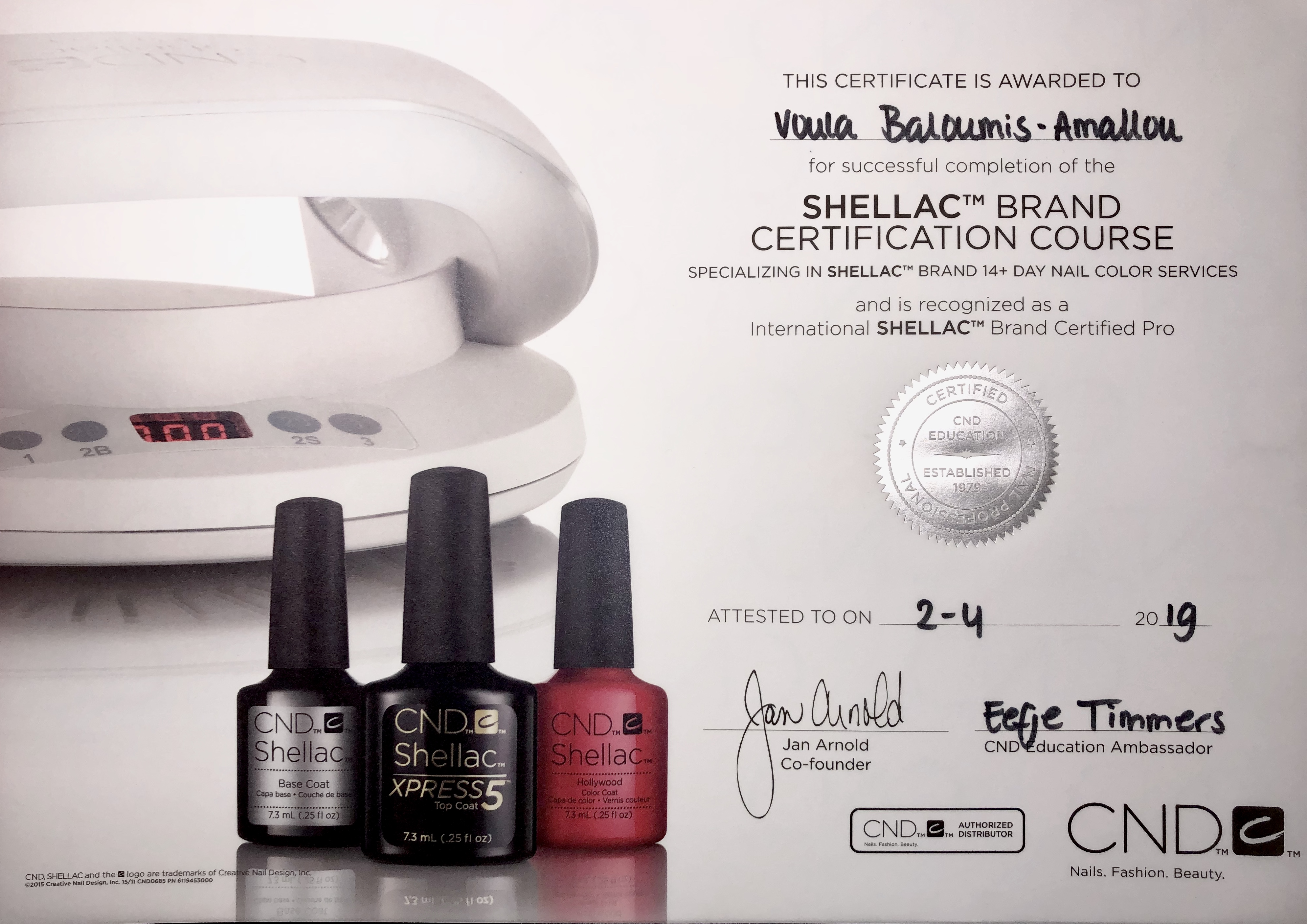 CND Shellac Certificaat