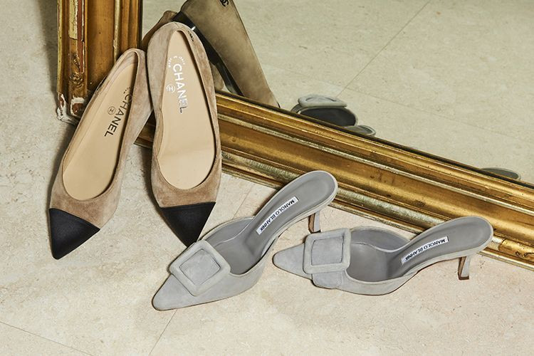 Chanel and Manolo Blahnik pumps.
