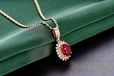 Diamond and Ruby Pendant in Rose Gold