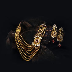 Indian Wedding Polki Necklace in Yellow Gold