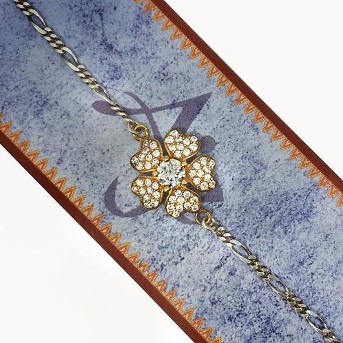 Silver Studded Flower Rakhi