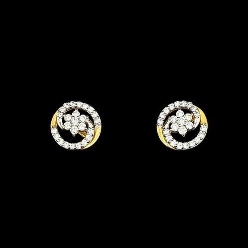 Flower Swirl Diamond Earings