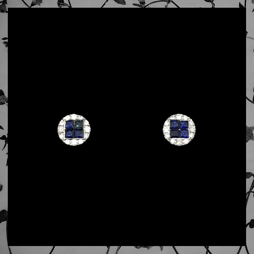 Prince Blue Sapphire Earrings with Round Diamonds