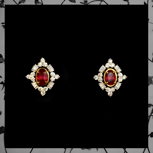 Ruby Earrings with Round & Baguette Diamonds