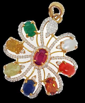 Navratan Pendant in Hallmark Yellow Gold(Diamond, Ruby, Emerald, Yellow Sapphire, Garnet, Blue Sapphire, Pearl, Cat's eye and Coral)