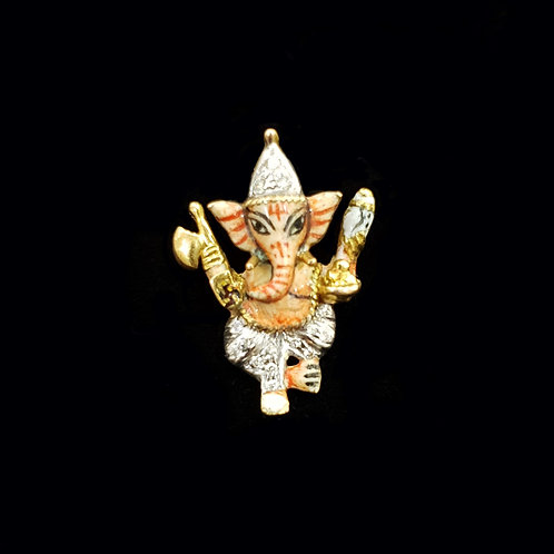 Lord Ganesha Enamel Diamond Pendant