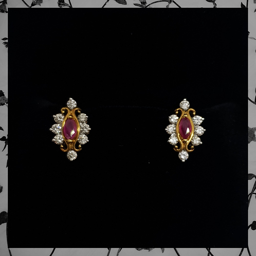 Marquise Ruby Earrings with Round Diamonds