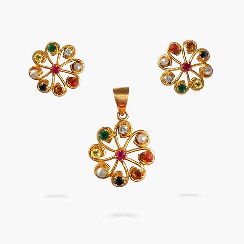 Navratana Pendant Set with Round Diamonds