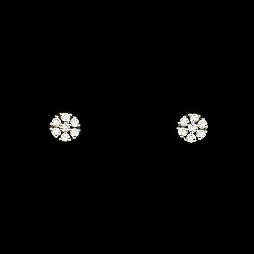 Charming Round Floral Diamond Studd
