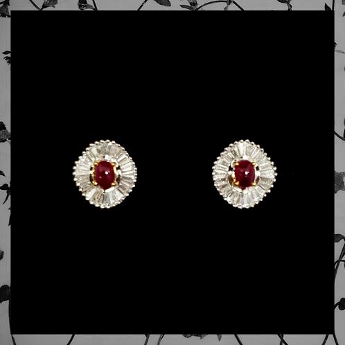 Uncut Ruby Earrings with Baguette Diamond Earrings