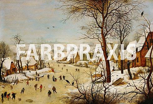 Pieter Brueghel der Jüngere | Winterlandschaft mit Eisläufern&Vogelfalle | 1601