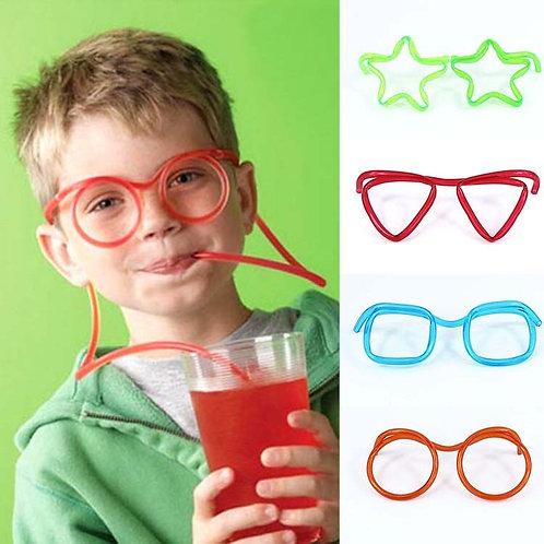 Novelty Soft Plastic Straw Funny Glasses