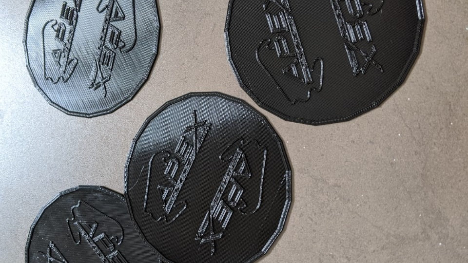 Nine coasters (0.5mm thick up to 75x75mm) of the track of your choice